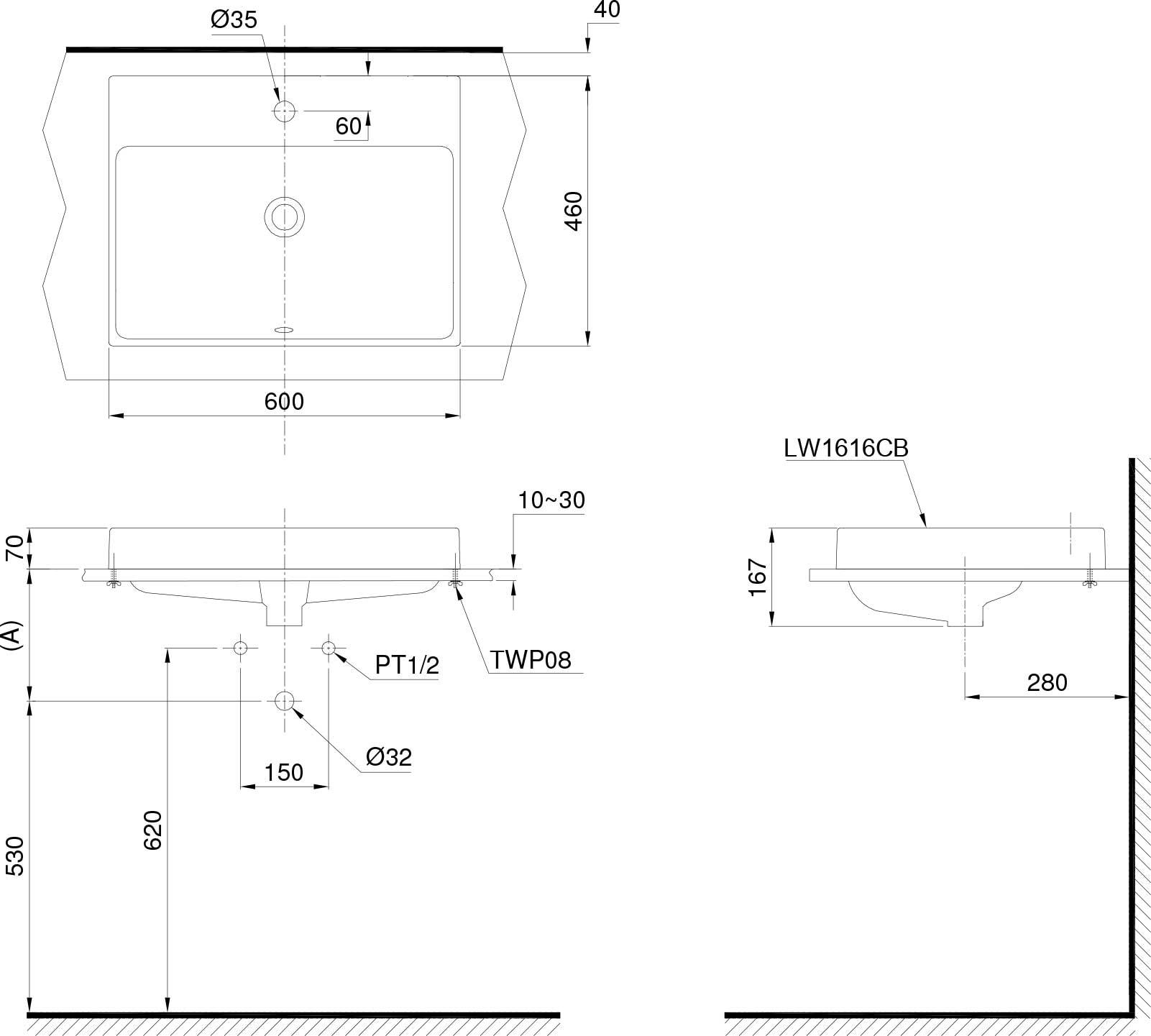 Bản vẽ chậu rửa TOTO L1616C