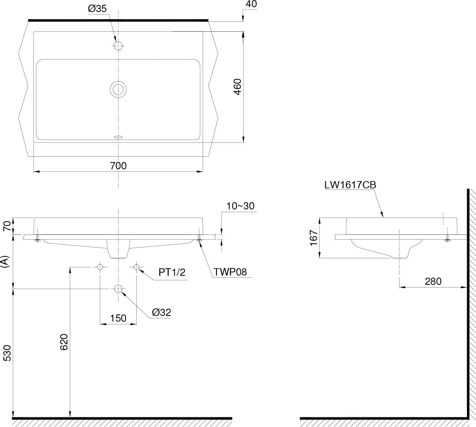 Bản vẽ chậu rửa TOTO LW1617C