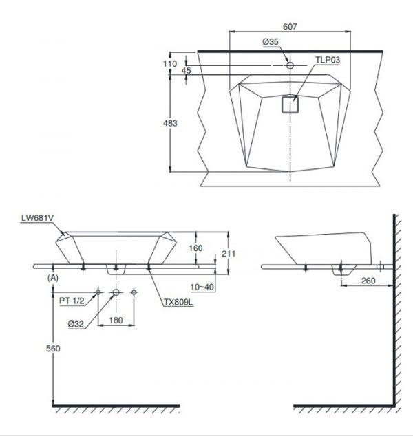 Bản vẽ lavabo TOTO LT681