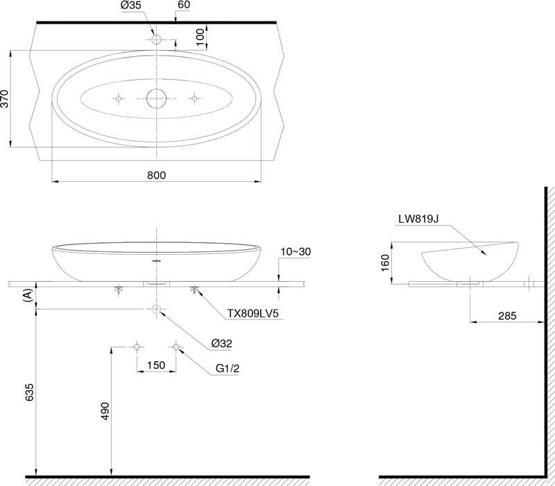 Bản vẽ lavabo TOTO LW819JW/F