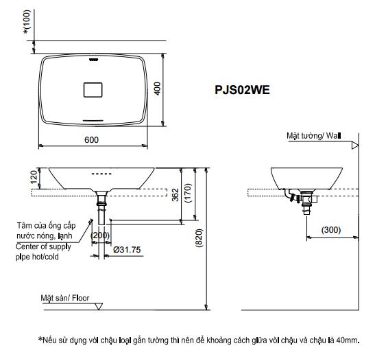 Bản vẽ kỹ thuật lavabo TOTO PJS02WE#MW