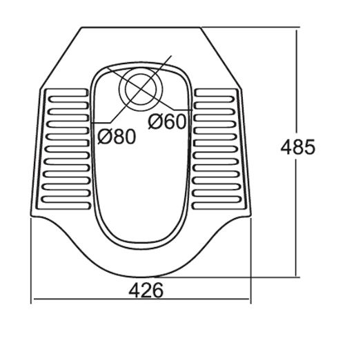 Bản vẽ kỹ thuật xí xổm Viglacera ST8