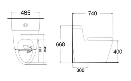 Bản vẽ kỹ thuật bồn cầu Kolni A2046