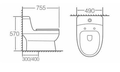 Bản vẽ kỹ thuật bồn cầu Kolni A2084
