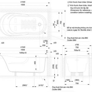 Bản vẽ kỹ thuật bồn tắm nằm TOTO PAY1570D DB501R-2B TVBF412