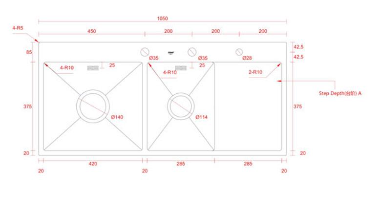 Bản vẽ kỹ thuật chậu Geler GL ECO-10548